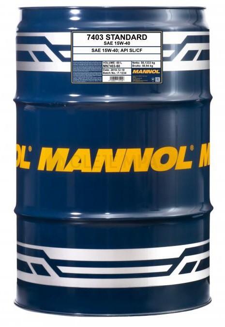 Motorový olej 15W-40 Mannol Standard - 60 L - Oleje 15W-40