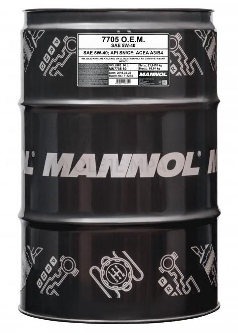 Motorový olej 5W-40 Mannol 7705 O.E.M. Renault - Nissan - 60 L - Oleje 5W-40