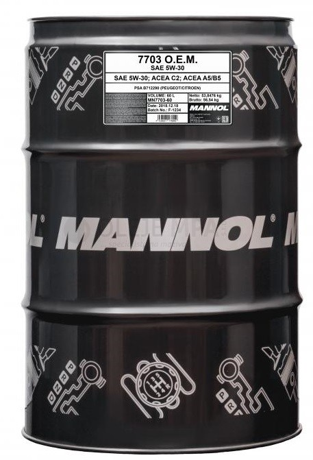 Motorový olej 5W-30 Mannol 7703 O.E.M. Peugeot - Citroen - 60 L - Oleje 5W-30