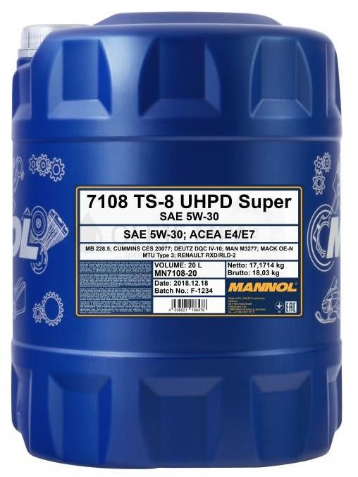 Motorový olej 5W-30 UHPD Mannol TS-8 Super - 20 L - 5W-30