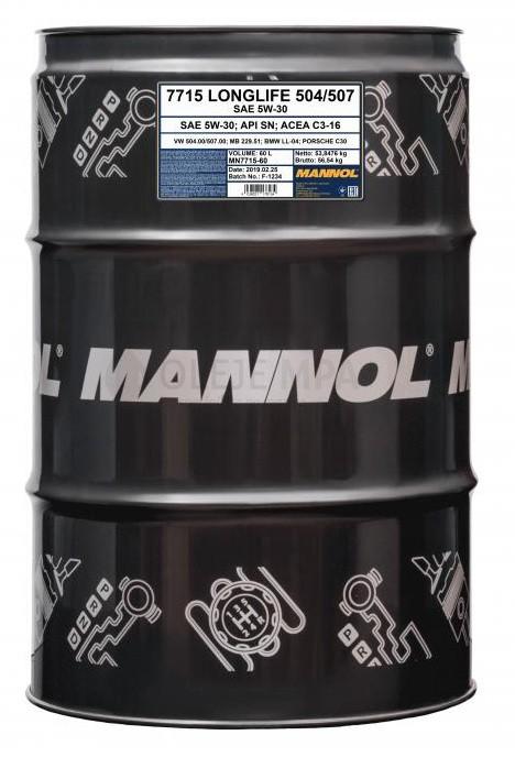 Motorový olej 5W-30 Mannol 7715 O.E.M. VW-AUDI-ŠKODA - 60 L