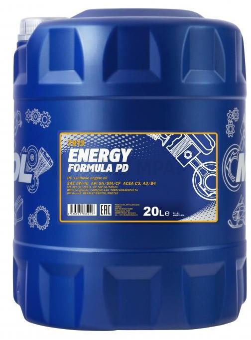 Motorový olej 5W-40 Mannol Energy Formula PD - 20 L - MPA Oleje