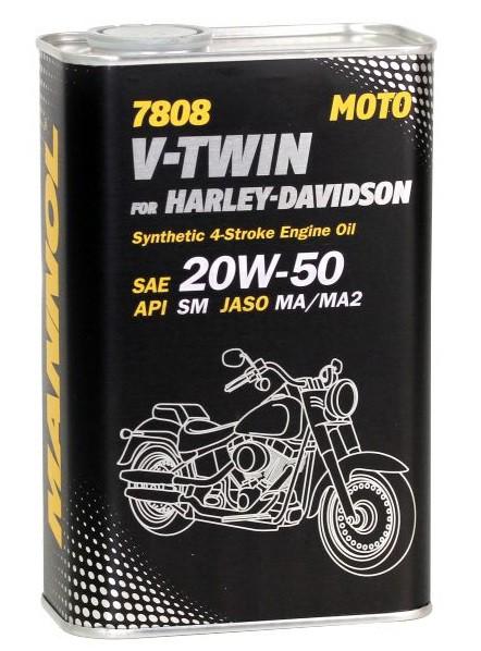 Motocyklový olej 20W-50 Mannol V-Twin for Harley-Davidson pro Harley-Davidson 7808 - 1 L - Motorové oleje pro 4-taktní motocykly