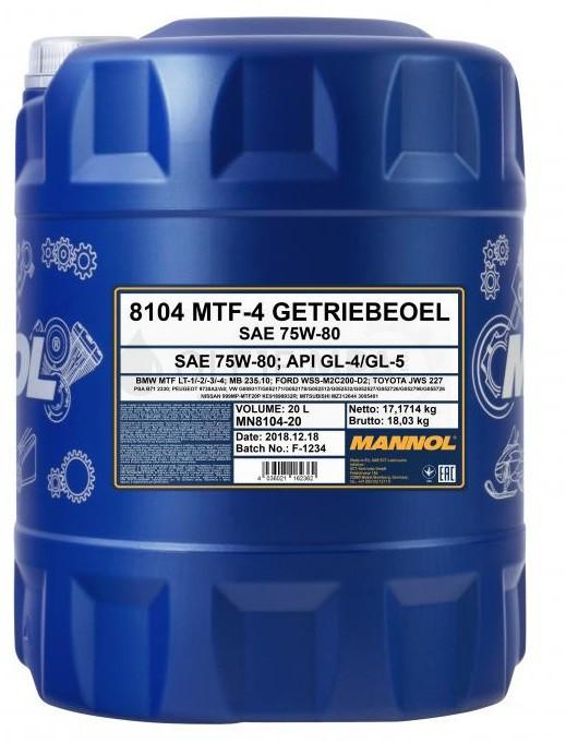 Převodový olej 75W-80 Mannol MTF-4 Getriebeoel - 20 L - Oleje 75W-80