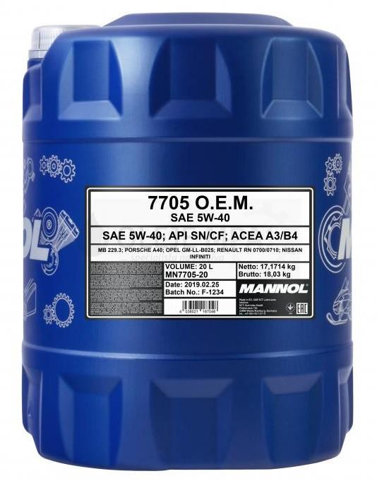 Motorový olej 5W-40 Mannol 7705 O.E.M. Renault - Nissan - 20 L - Oleje 5W-40