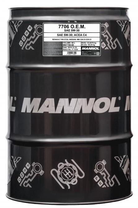 Motorový olej 5W-30 Mannol 7706 O.E.M. Renault - Nissan - 60 L - Oleje 5W-30
