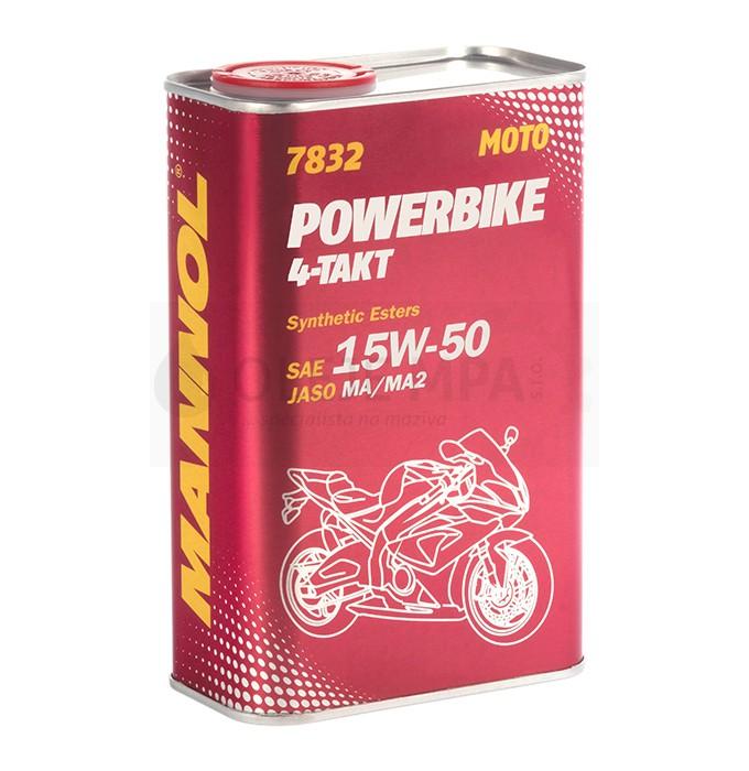 Motocyklový olej 15W-50 Mannol 7832 4-Takt Powerbike - 1 L - Motorové oleje pro 4-taktní motocykly
