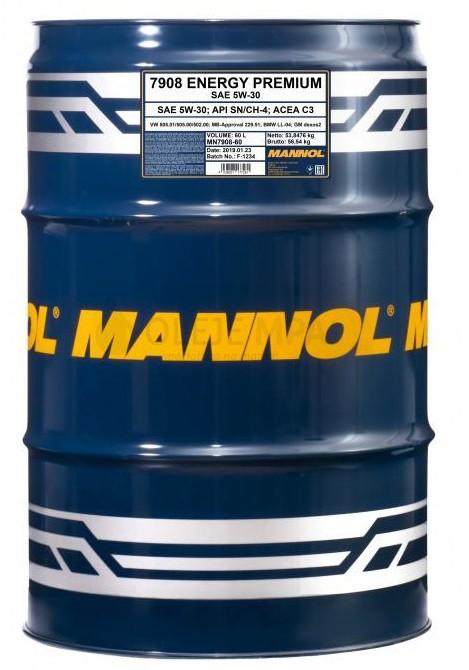 Motorový olej 5W-30 Mannol Energy Premium - 60 L - Oleje 5W-30