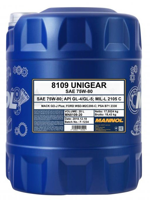 Převodový olej 75W-80 Mannol Unigear 8109 - 20 L