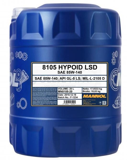 Převodový olej 85W-140 Mannol Hypoid LSD - 20 L - Převodové oleje
