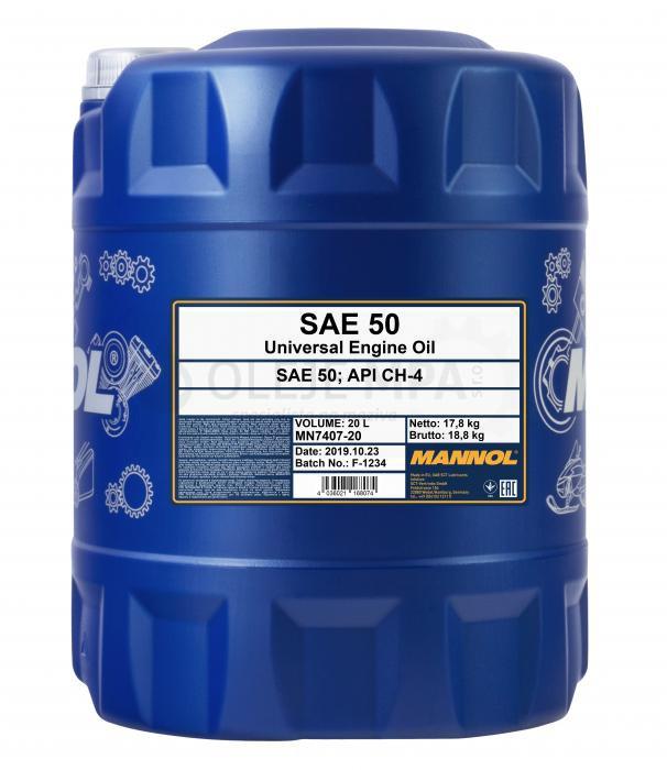 Motorový olej SAE 50 Mannol - 20 L - Jednostupňové
