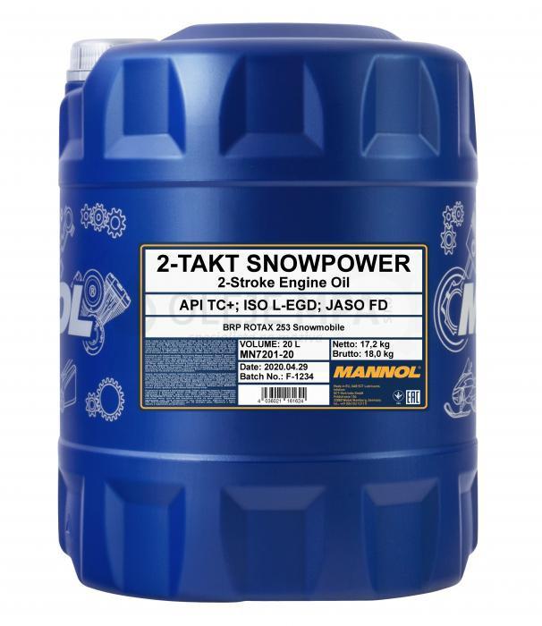 Motorový olej Mannol 2-Takt Snowpower - 20 L - Motorové oleje pro 2-taktní motocykly