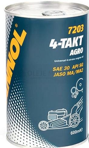 Motorový olej 4-Takt Mannol Agro SAE 30 - 0,6 L - Oleje pro sekačky, motorové pily a další zemědělské stroje