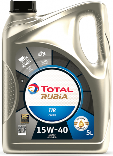 Motorový olej 15W-40 SHPD Total Rubia TIR 7400 - 5 L