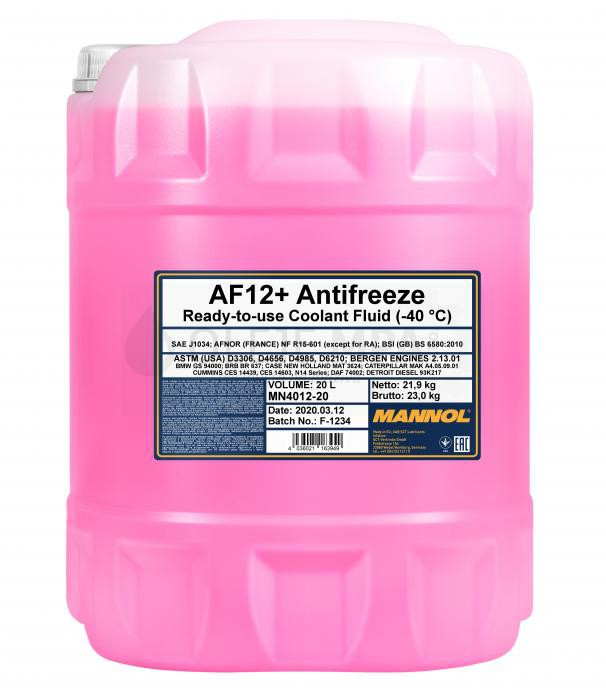 Chladící kapalina Mannol Antifreeze AF 12+ -40°C - 20 L