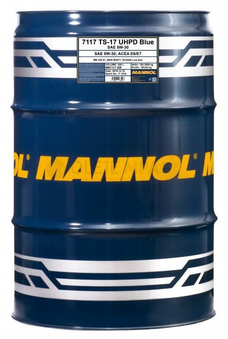 Motorový olej 5W-30 UHPD Mannol TS-17 Blue - 208 L - 5W-30
