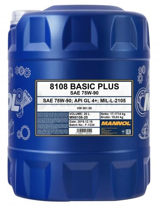 Převodový olej 75W-90 Mannol Basic Plus GL-4+ - 20 L - Oleje 75W-90